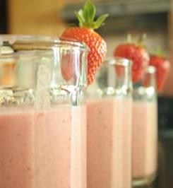 Aardbeien kwark smoothie